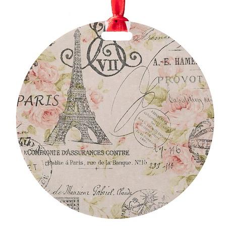 floral paris eiffel tower scripts Round Ornament