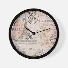floral paris eiffel tower scripts Wall Clock