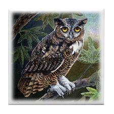 Owl at Twilight Tile Coaster