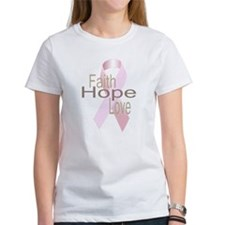 Faith, Hope, Love Breast Cancer Ribbon T-Shirt
