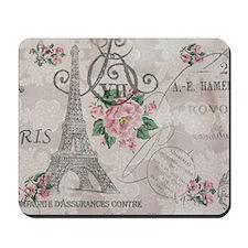 floral paris eiffel tower fashion Mousepad