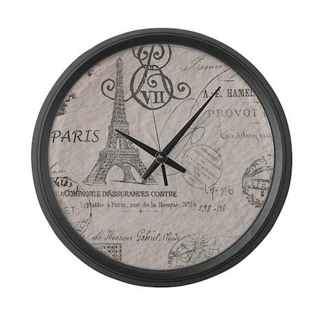 vintage paris eiffel tower script Large Wall Clock