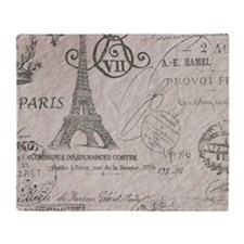 vintage paris eiffel tower scripts Throw Blanket
