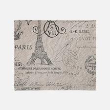 vintage paris eiffel tower scripts Throw Blanket