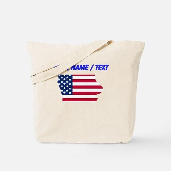 Custom Iowa American Flag Tote Bag