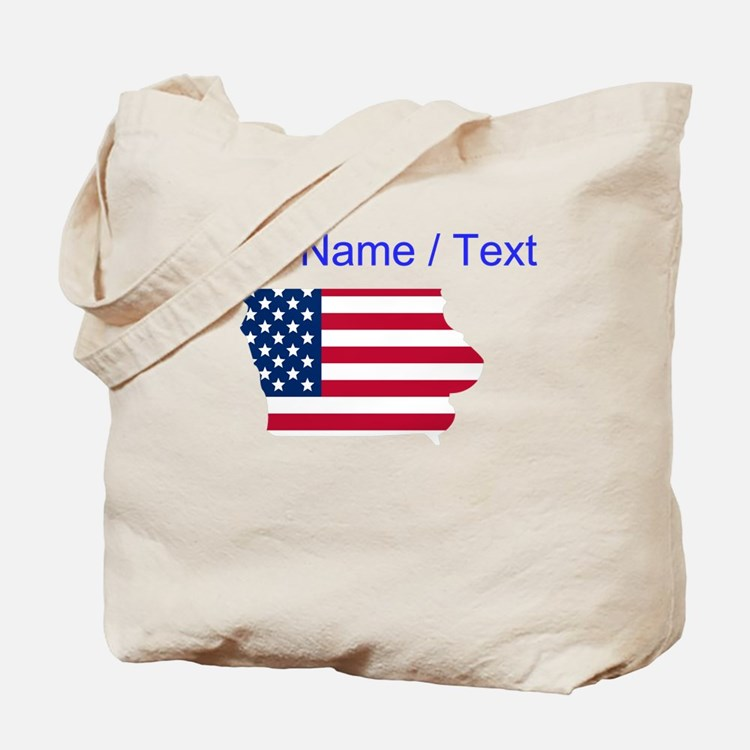 Custom Iowa American Flag Tote Bag