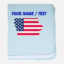 Custom Iowa American Flag baby blanket