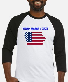 Custom Iowa American Flag Baseball Jersey