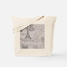 vintage paris eiffel tower scripts Tote Bag