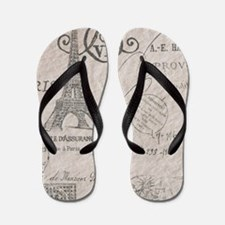 vintage paris eiffel tower scripts Flip Flops
