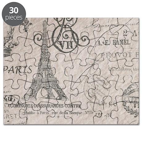 vintage paris eiffel tower scripts Puzzle