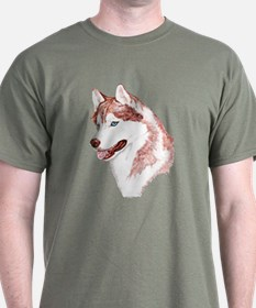 Red Siberian Husky Blue Eyes Dark Colored T-Shirt