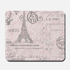 vintage paris eiffel tower damask Mousepad