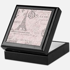 vintage paris eiffel tower damask Keepsake Box