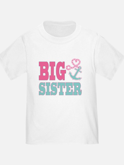 Big Sister Cute Nautical Anchor and Heart T-Shirt