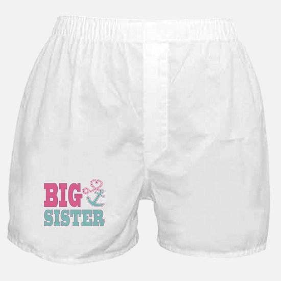 Big Sister Cute Nautical Anchor and Heart Boxer Sh