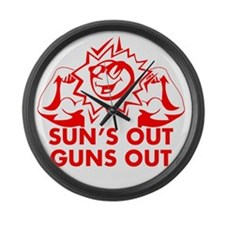 Sun's Out Guns Out Large Wall Clock
