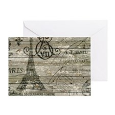 vintage paris eiffel tower scripts Greeting Card