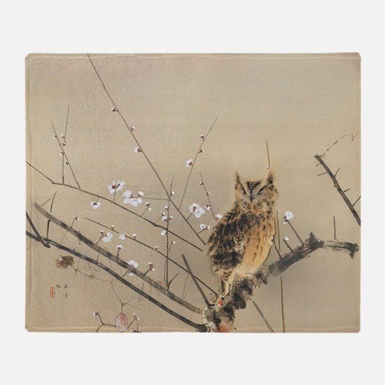 Early Plum Blossoms by Nishimura Gou Throw Blanket