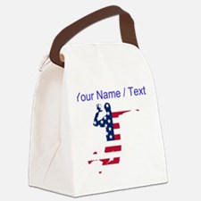 American Flag Volleyball Spike Canvas Lunch Bag