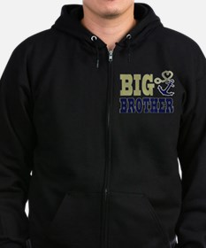 Big Brother Cute Nautical Anchor and Heart Zip Hoodie