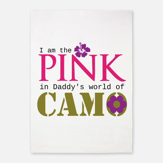 Pink In Daddys Camo World! 5'x7'Area Rug