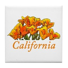 Stylized California Poppies Tile Coaster