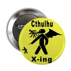 """Cthulhu Crossing! 2.25"""" Button (10 pack)"""