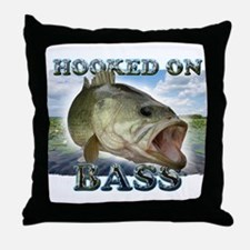 Hooked on Bass Throw Pillow