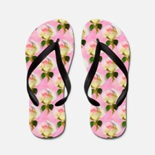 Rosebud Pink Pattern Flip Flops