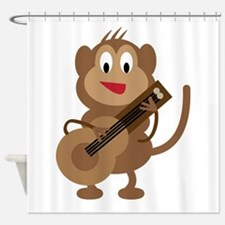 Monkey Playing Guitar Shower Curtain