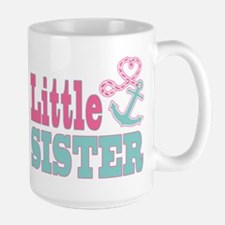 Little Sister Cute Nautical Anchor and Heart Mugs