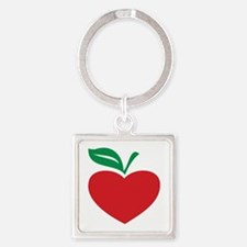 Apple heart Square Keychain