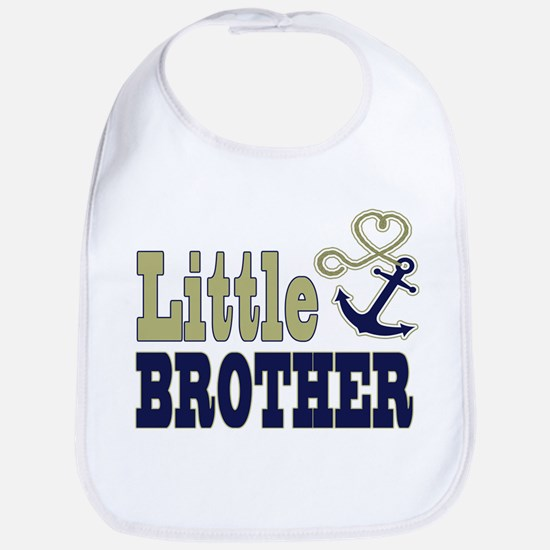 Little Brother Cute Nautical Anchor and Heart Bib