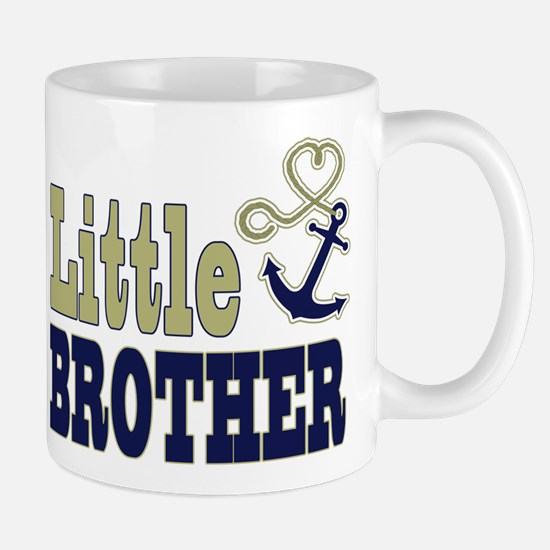 Little Brother Cute Nautical Anchor and Heart Mugs