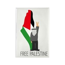 Free Palestine with map of pa Rectangle Magnet