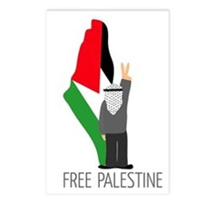 Free Palestine with map of pa Postcards (Package o