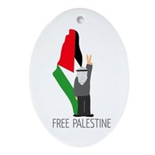 Free Palestine with map of pa Oval Ornament