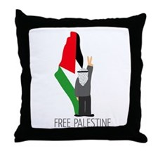 Free Palestine with map of pa Throw Pillow