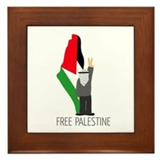 Free Palestine with map of pa Framed Tile
