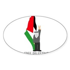 Free Palestine with map of pa Oval Decal