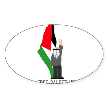 Free Palestine with map of pa Oval Sticker