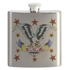 U.S.A. Old School Eagle Tattoo Flask