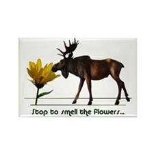 Stop To Smell The Flowers Moose Rectangle Magnet