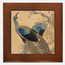 A Pair of Peacocks by Imao Keinen Framed Tile