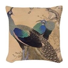 A Pair of Peacocks by Imao Kei Woven Throw Pillow
