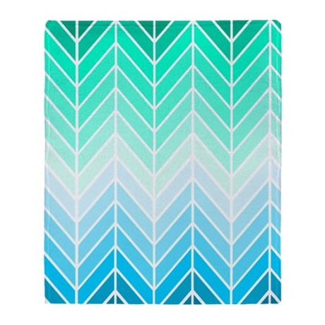 coastal chevron Throw Blanket