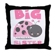 Pink Ladybug Big Sister Throw Pillow