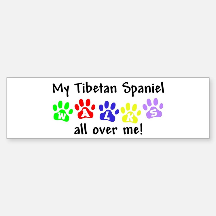 Tibetan Spaniel Walks Bumper Bumper Bumper Sticker