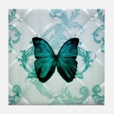 damask butterfly vintage Tile Coaster